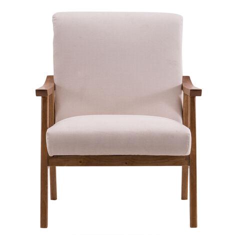 "main image of ""Interior simple lounge chair bedroom living room modern creative wooden single sofa - Beige"""
