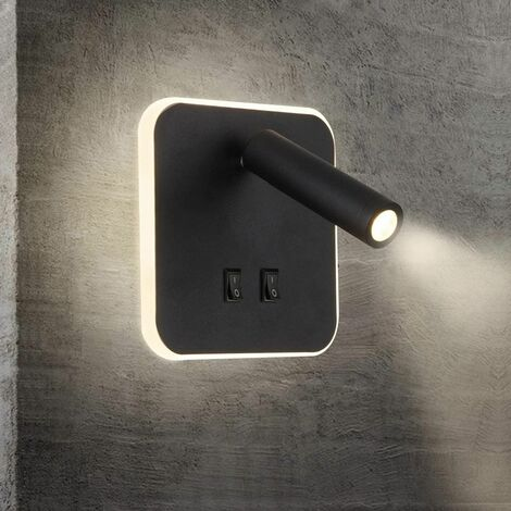 Interior wall light LED reading light Bedside wall light hotel interior Bed wall lights Corridor wall lamp with switch Black (3W + 7W / warm white) [Energy class A +] [Energy class A +]