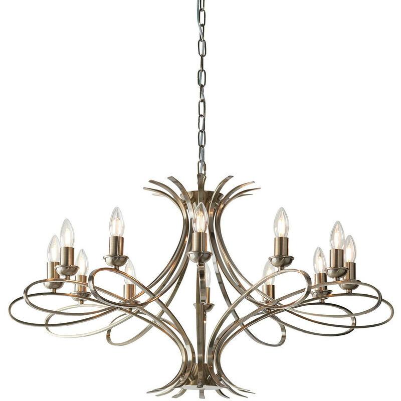 Image of Interiors 1900 Lighting - Interiors - 12 Light Chandelier Brushed Brass Effect Plate Finish, E14