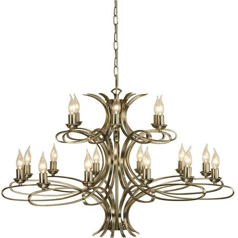 Image of Interiors - 18 Light Chandelier Brushed Brass Effect Plate Finish, E14 - INTERIORS 1900 LIGHTING