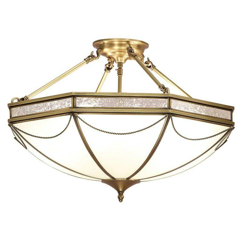 Image of Interiors 190001P63 - 8 Light Semi Flush Ceiling Light Antique Brass, Frosted Glass, E27 - INTERIORS 1900 LIGHTING