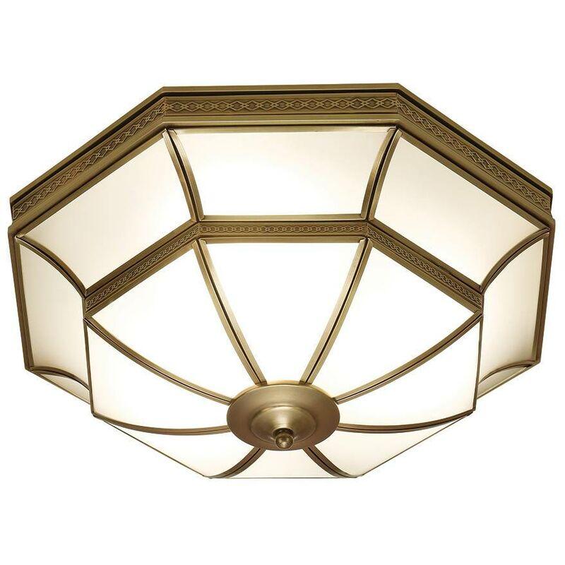 Image of Interiors 190002FL47 - 4 Light Ceiling Flush Light Antique Brass, Frosted Glass, E27 - INTERIORS 1900 LIGHTING