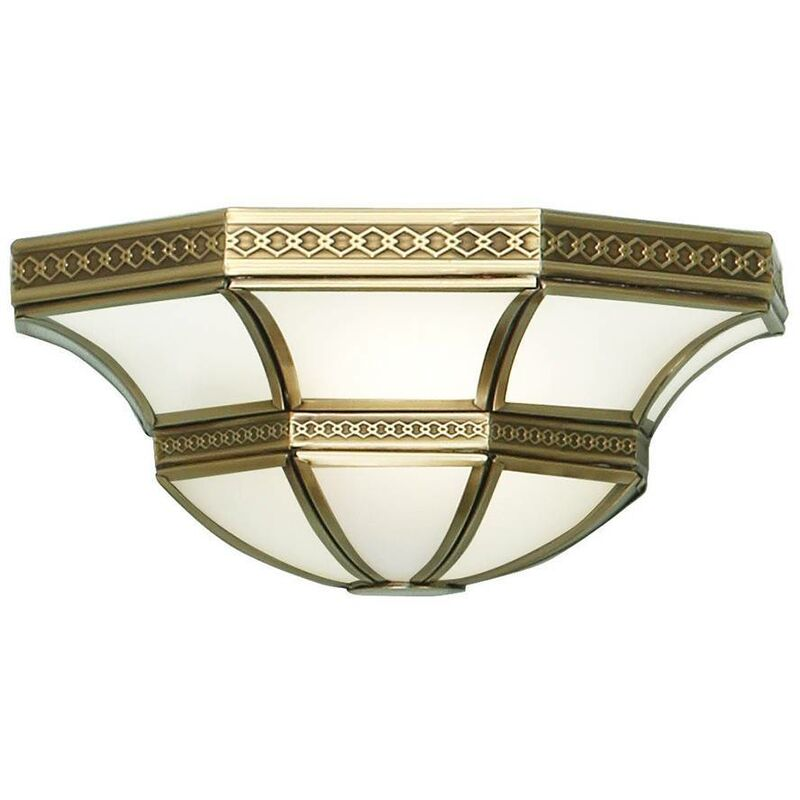 Image of Interiors 190002W - 1 Light Indoor Wall Uplighter Antique Brass with Frosted Glass, E14 - INTERIORS 1900 LIGHTING
