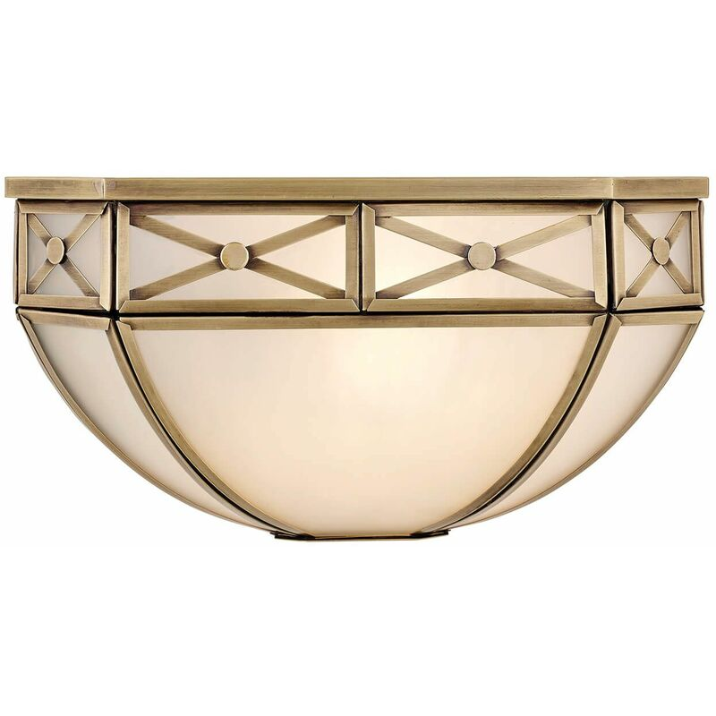 Image of 12-interiors 1900 - Bannerman wall lamp, antique brass and frosted glass