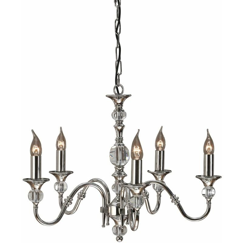Image of 5-light pendant lamp Polina, nickel and crystal