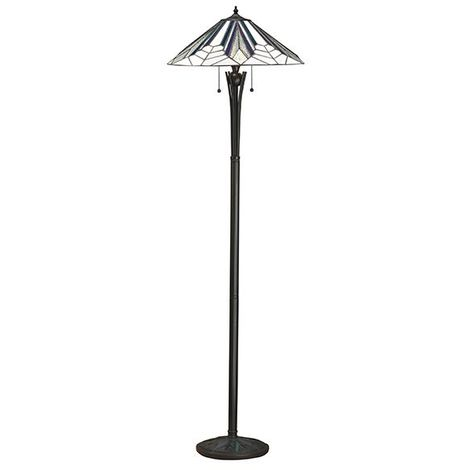 Interiors Astoria Tiffany Style Polyester Floor Lamp Black Glass Shade