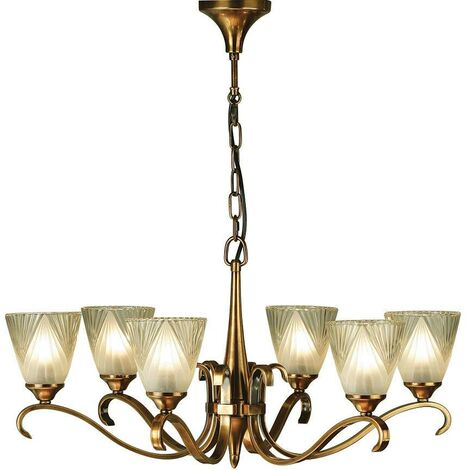 Interiors Columbia Brass - 6 Light Multi Arm Ceiling Pendant Chandelier Antique Brass, Glass, E14