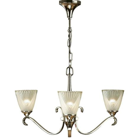 Interiors Columbia Nickel - 3 Light Multi Arm Ceiling Chandelier Clear Glass, Polished Nickel, E14