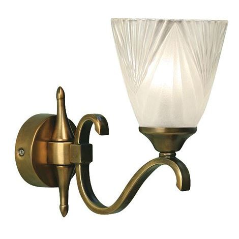 Interiors Columbia Single Wall Light In Antique Brass With Decor Glass