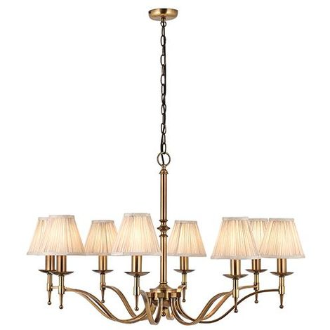 Interiors Stanford Antique Brass 8 Light Ceiling Pendant & Beige Shades 40W