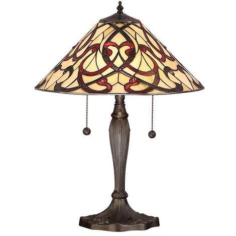 Interiors Tiffany Glass Ruban Medium Aluminium Table Lamp