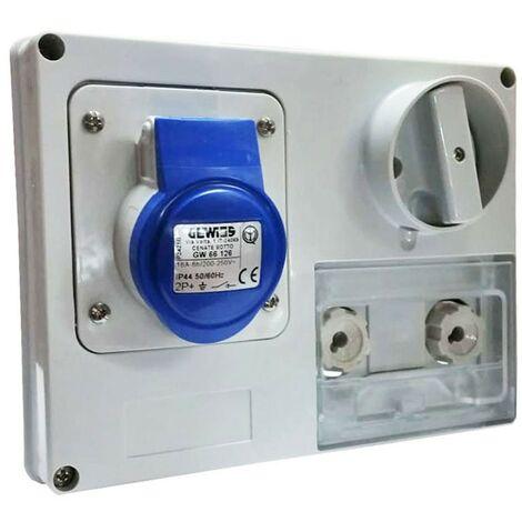 Interlocked-interrupteur de la prise électrique Gewiss 2P+T 16A IP44 220V sans boîte GW66126