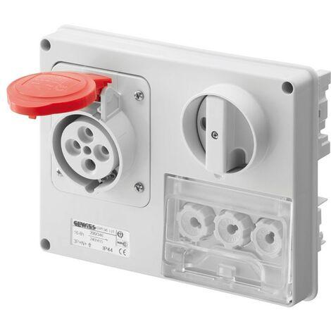Interlocked-interrupteur de la prise électrique Gewiss 3P+N+t 16A IP44 380V sans boîte GW66131