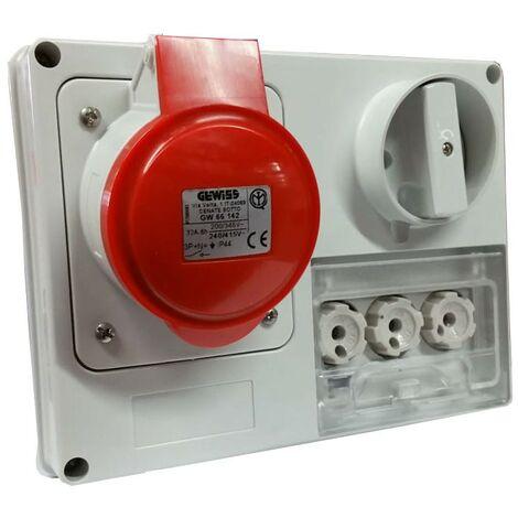 Interlocked-interrupteur de la prise électrique Gewiss 3P+N+t 32A IP44 380V sans boîte GW66142
