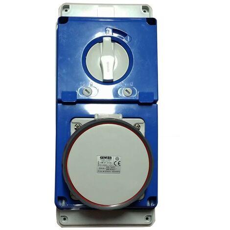 Interlocked-interrupteur de la prise électrique Gewiss 3P+N+T 63A IP67 380V GW67253N