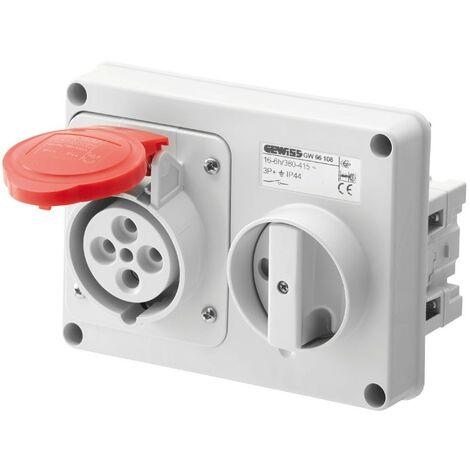 Interlocked-interrupteur de la prise électrique Gewiss 3P+T 16A IP44 380V sans boîte GW66108