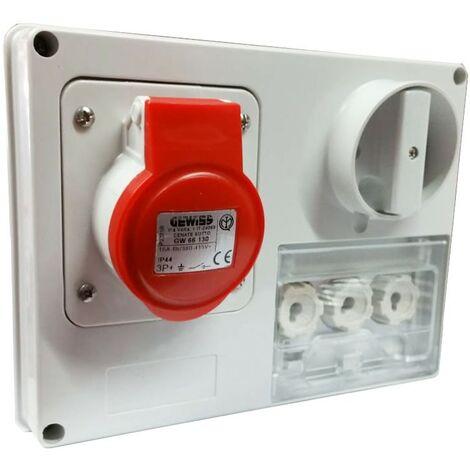 Interlocked-interrupteur de la prise électrique Gewiss 3P+T 16A IP44 380V sans boîte GW66130