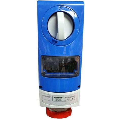 Interlocked-interrupteur de la prise électrique Gewiss 3P+t 16A IP66 380V GW66808