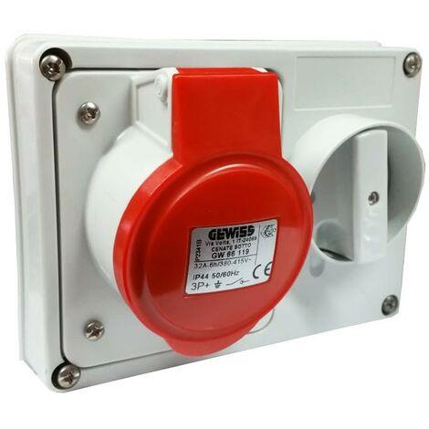 Interlocked-interrupteur de la prise électrique Gewiss 3P+t 32A IP44 380V sans boîte GW66119