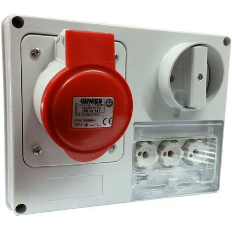 Interlocked-interrupteur de la prise électrique Gewiss 3P+t 32A IP44 380V sans boîte GW66141