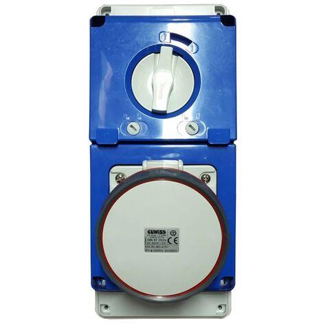 Interlocked-interrupteur de la prise électrique Gewiss 3P+T 63A IP67 380V GW67252N