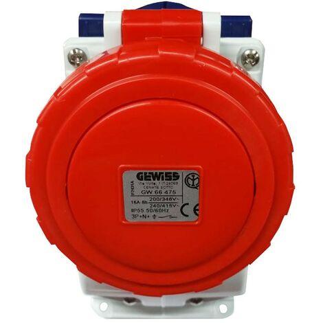 Interlocked-interrupteur de la prise électrique Gewiss verticale 3P+N+e 16 A IP55 GW66475