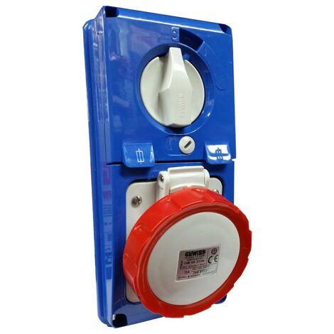 Interlocked-interrupteur de la prise électrique Gewiss verticale 3P+N+T 16A IP67 GW66331N