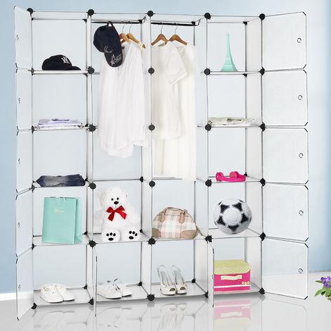 Interlocking DIY Plastic Wardrobe Cabinet Box Shelves Clothes Organiser Shoes Toys Books Storage Shelf White