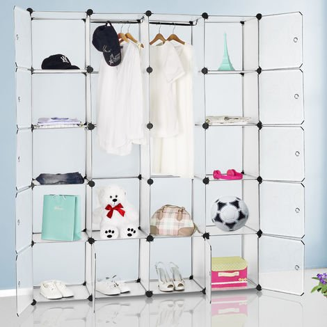 Interlocking DIY Plastic Wardrobe Cabinet ✔ Model Colour Choice ✔ Box Shelves Organiser for Clothes Shoes Toys Books ✔ Storage Shelf White
