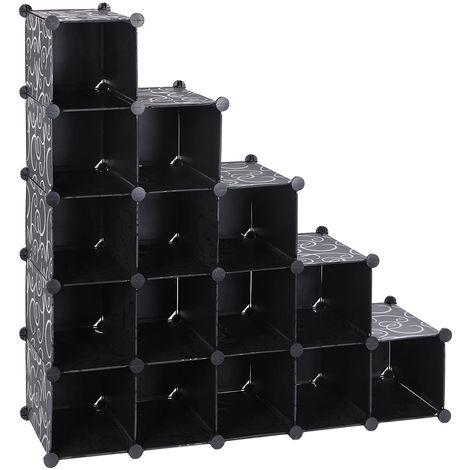 b06dd5504e15 Interlocking Shoe Rack - Extra Big Cube, Black LPC44H