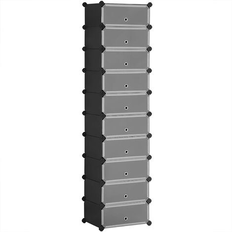 Interlocking Shoe Rack, Rectangular Storage Organiser, 10-Slot Modular DIY Storage Shelf Unit, 40 x 30 x 17 cm for Each Slot, Metal Wire Wardrobe, Black LPC10HV1