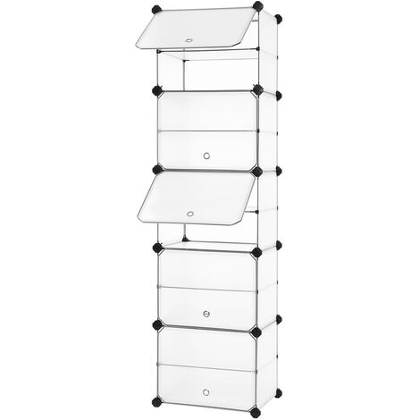 Interlocking Shoe Rack with Door, Storage Organiser Unit with Hooks, Modular DIY Storage Shelf, Wardrobe Divider for Clothes, Bags, Toys, Translucent White LPC503W