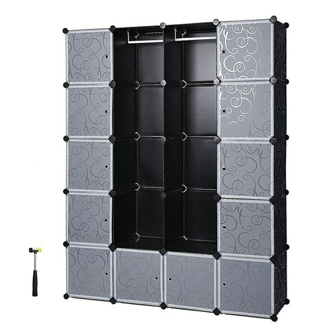 Interlocking Storage Cube Organiser Clothes Wardrobe Cabinet with Hanging Rails 143 x 36 x 178 cm White/Black