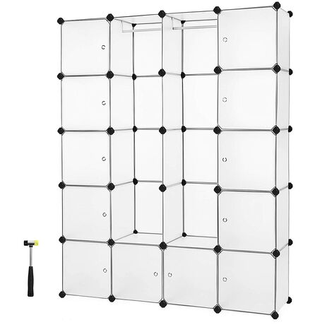 Interlocking Storage Cube Organiser Clothes Wardrobe Cabinet with Hanging Rails 143 x 36 x 178 cm White LPC30W