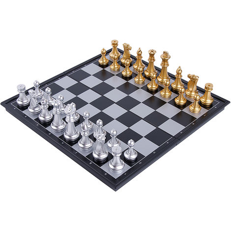 International Chess Set Magnetic Portable Chess Game Board Set with Folding Chess Board