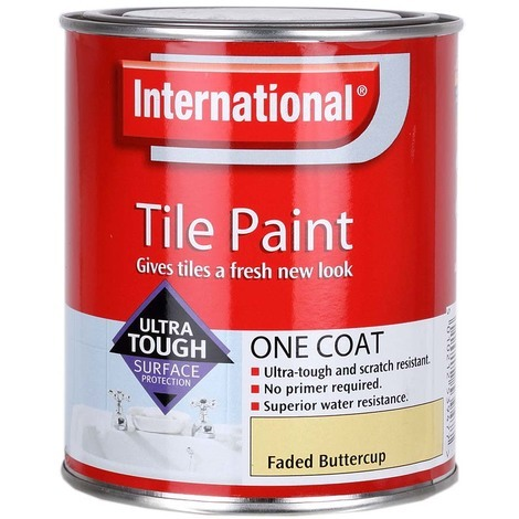 Admirable International One Coat Scratch Resistant And Water Resistant Bathroom And Kitchen Tile Paint Faded Buttercup 750Ml Interior Design Ideas Grebswwsoteloinfo