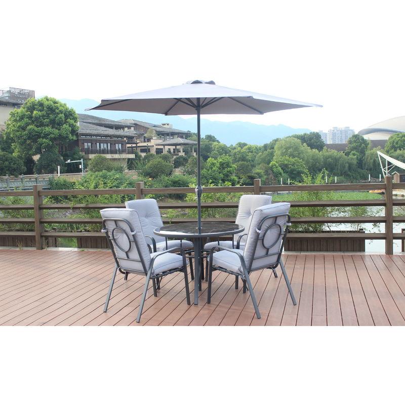 Gartenmöbel mit 1 runden Tisch + 4 Stühle + 1 grauer Sonnenschirm - Interouge