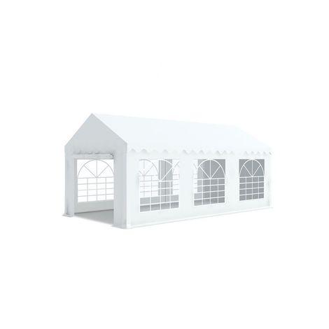 INTEROUGE Tente de réception en acier 38 mm et PVC 480g/m² œillets inox Tonnelle Barnum Chapiteau Blanc - 3x6m - Blanc