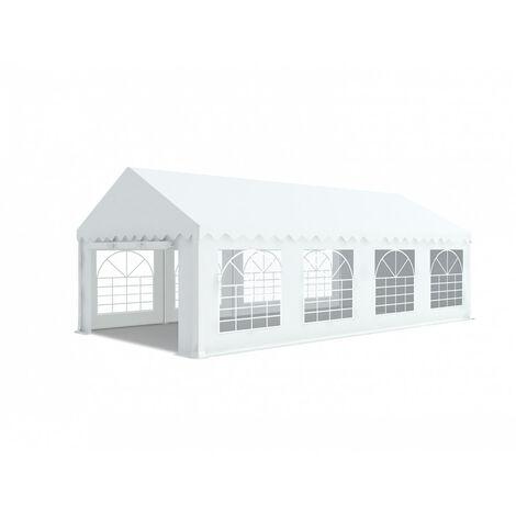 INTEROUGE Tente de réception en acier 38 mm et PVC 480g/m² œillets inox Tonnelle Barnum Chapiteau Blanc - 4x8m