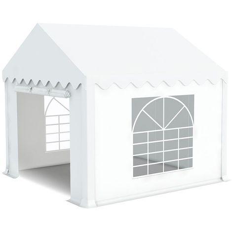 INTEROUGE Tente de réception en acier 38 mm et PVC 480g/m² œillets inox Tonnelle Barnum Chapiteau Blanc - 5x12m