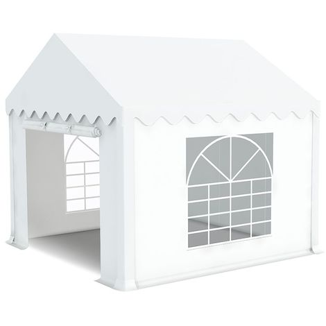 INTEROUGE Tente de réception en acier 38 mm et PVC 480g/m² Tonnelle Barnum Chapiteau Blanc