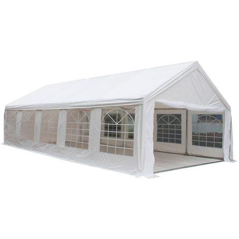 Interouge Tente de réception en acier et PVC 500g/m² Chapiteau Barnum Tonnelle Blanc