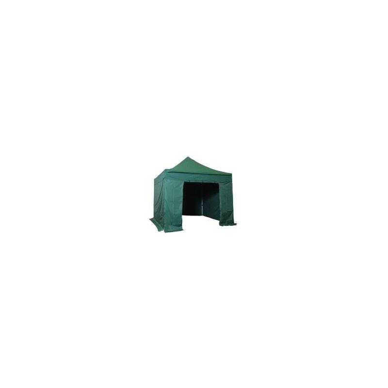 Tente pliante pergola tente de jardin tonnelle 3x3 M en Acier et Polyester 300g/m² Barnum avec bâches latérales   VERT SAPIN - Vert foncé - INTEROUGE