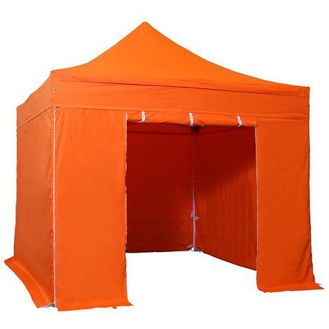 INTEROUGE Tente pliante 3x3 M en Acier et Polyester 300g/m² Tonnelle pliante Chapiteau Barnum avec les 4 côtés bâches (incluant une porte)