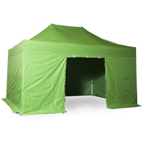 INTEROUGE Tente pliante 3x4.5 M en Acier et Polyester 300g/m² Tonnelle pliante Chapiteau Barnum avec les 4 côtés bâches (incluant une porte).
