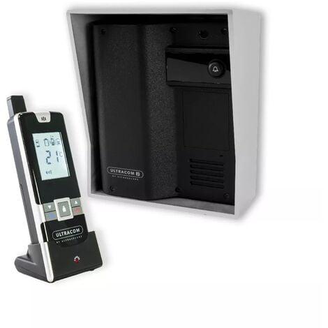 Interphone 100% sans-fil autonome sur piles 600 mètres longue distance - UltraCOM2 Noir 600-SOLO visière argent combiné