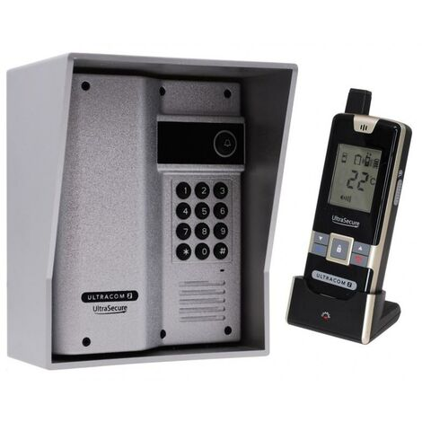 Interphone 600 mètres autonome digicode sans-fil longue distance - UltraCOM2 ARGENTÉ 600AK-SOLO + visière + combiné