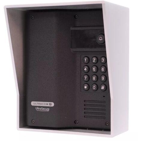 Interphone 600 mètres autonome digicode sans-fil longue distance - UltraCOM2 NOIR 600AK-SOLO + visière argent + combiné