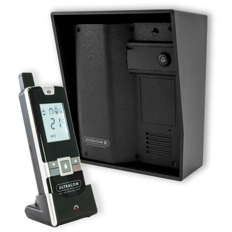 Interphone 600 mètres autonome individuel sans-fil longue distance - UltraCOM2 NOIR 600-SOLO + visière noire + combiné