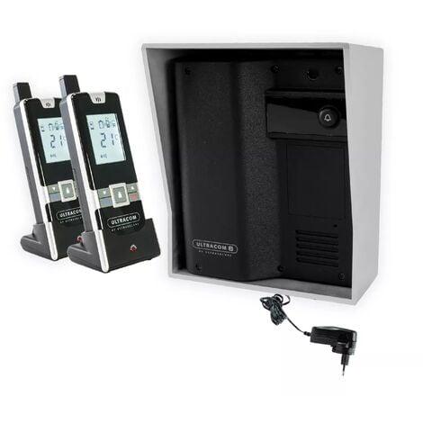 Interphone 600 mètres individuel sans-fil - UltraCOM2 NOIR 600-SOLO visière argentée + transformateur + 2 combinés